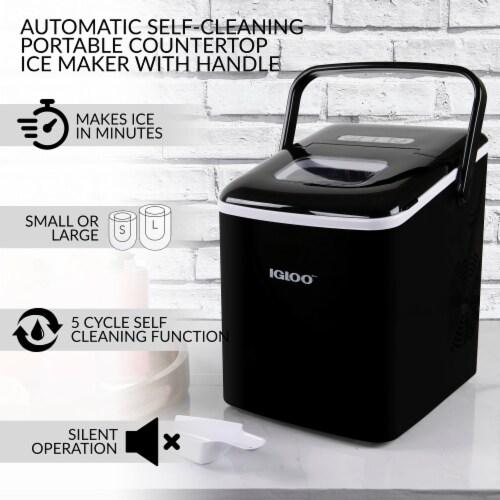Igloo Automatic Self-Cleaning Portable Countertop Ice Maker Machine With Handle - Black Perspective: right