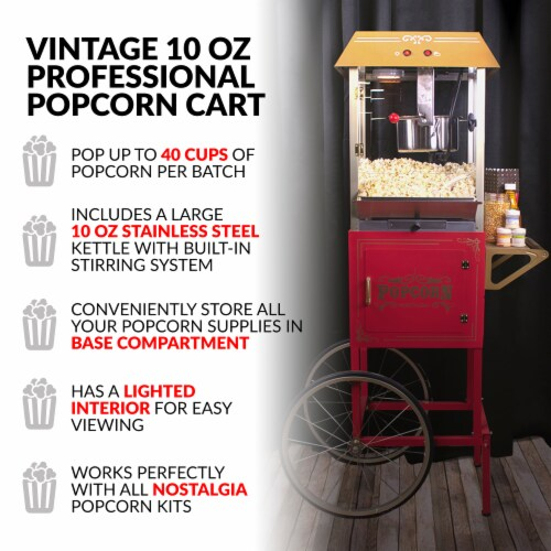 Nostalgia Red Vintage Commercial Popcorn Cart Perspective: right