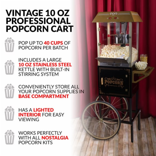 Nostalgia Vintage Professional Popcorn Cart - Black Perspective: right