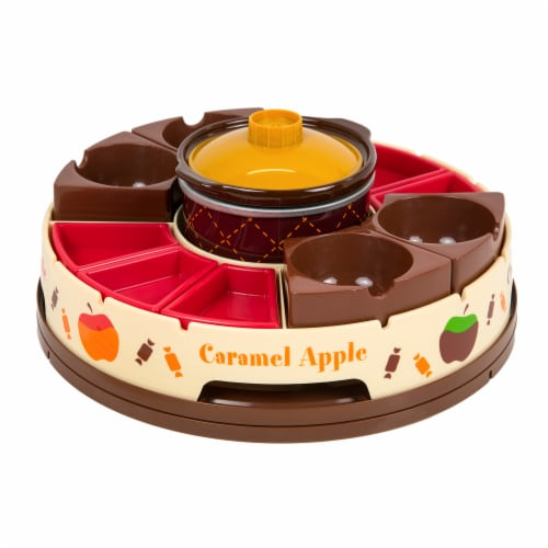 Nostalgia Lazy Susan Chocolate & Caramel Apple Tray and Fondue Pot Set Perspective: right