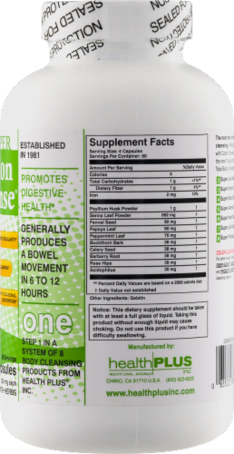 Health Plus Super Colon Cleanse 500 mg Perspective: right
