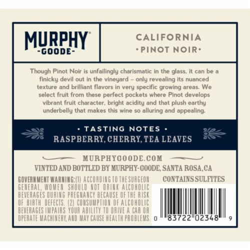 Murphy-Goode California Pinot Noir Red Wine Perspective: right