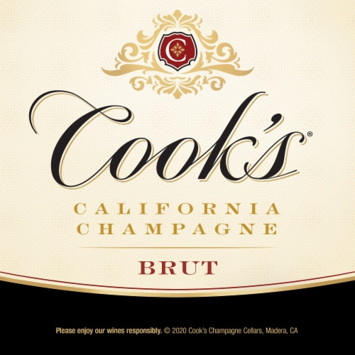 Cook's Brut White Champagne Sparkling Wine Perspective: right