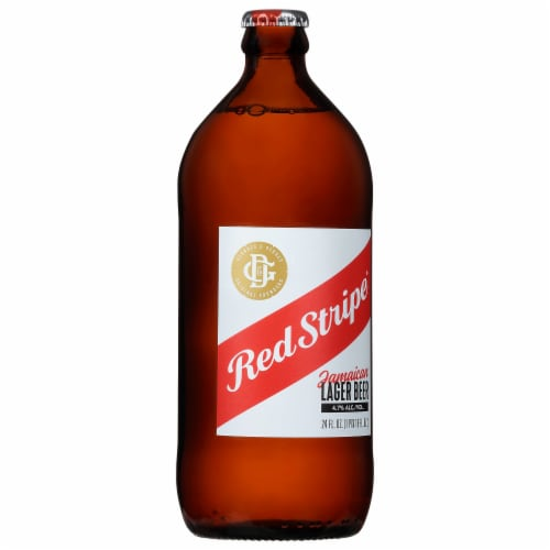 Red Stripe Jamaican Lager Beer Perspective: right