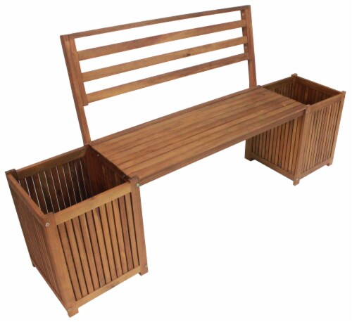 Leigh Country Sequoia Bench with Planters - Brown Perspective: right