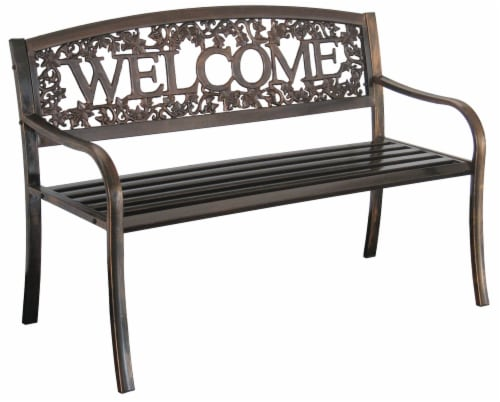 Leigh Country Metal Welcome Bench - Bronze Perspective: right