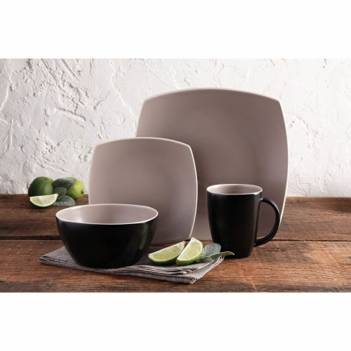 Gibson Elite 16 Piece Square Matte Dinnerware Set with Plates, Bowls, and Mugs Perspective: right