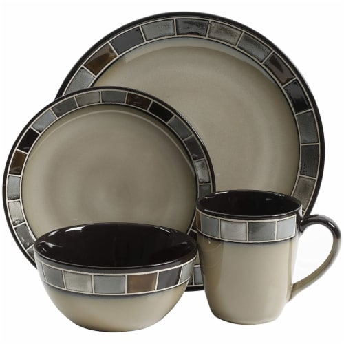 Gibson Elite Casa Gris 16 Piece Plates, Bowls, & Mugs Dinnerware Set, Cream/Grey Perspective: right