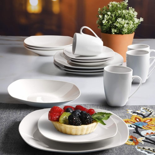 Gibson Porcelain 16 Piece Dinnerware Set Plates, Bowls, & Mugs, Classic Pearl Perspective: right