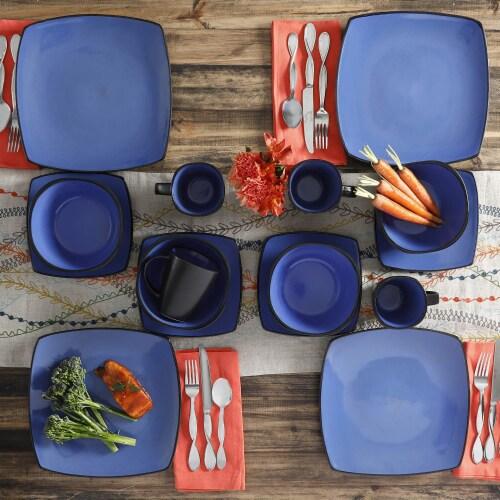 Gibson Elite Soho Lounge 16 Piece Plates, Bowls, & Mugs Dinnerware Set, Blue Perspective: right