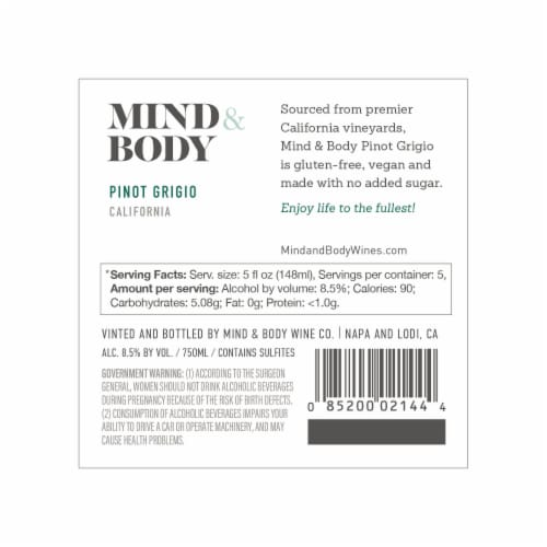 Mind & Body Pinot Grigio White Wine Low Calorie 750mL Wine Bottle Perspective: right