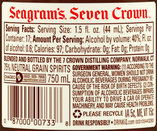Seagram's 7 Crown American Blended Whiskey Perspective: right