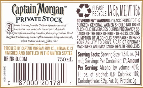 Captain Morgan Premium Barrel Private Stock Rum Perspective: right