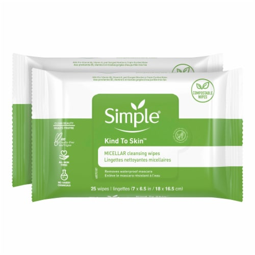 Simple Micellar Makeup Remover Wipes Perspective: right