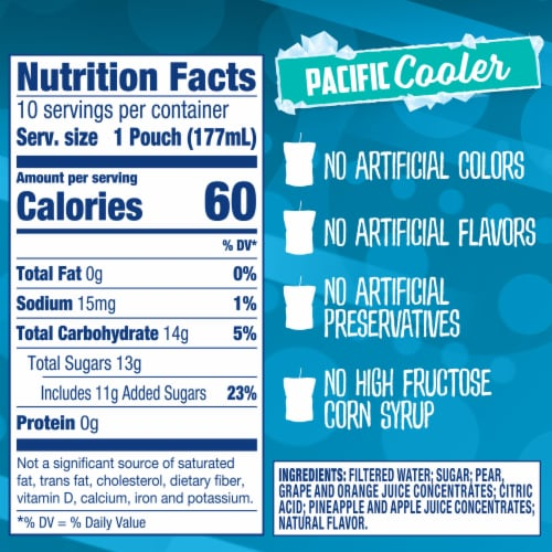 Capri Sun Pacific Cooler Mixed Fruit Flavored Juice Drink Blend Pouches Perspective: right