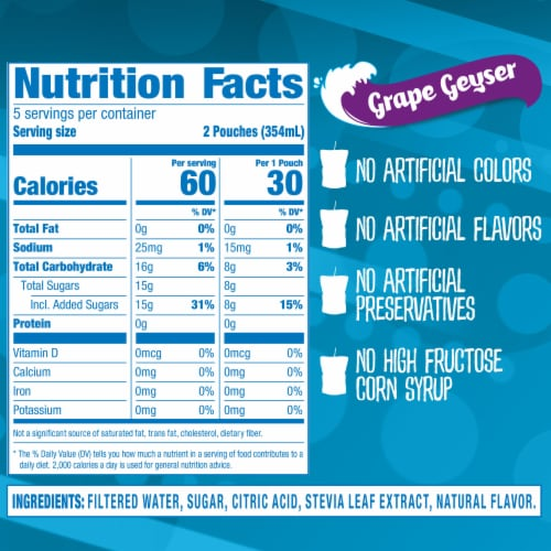 Capri Sun Roarin' Waters Grape Geyser Flavored Water Beverage Pouches Perspective: right