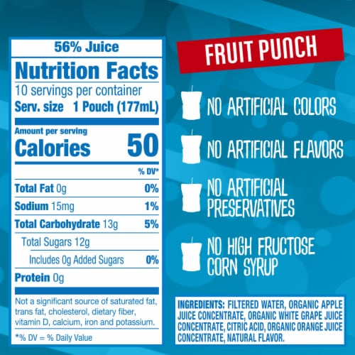 Capri Sun Organic Fruit Punch Juice Drink Blend Pouches Perspective: right