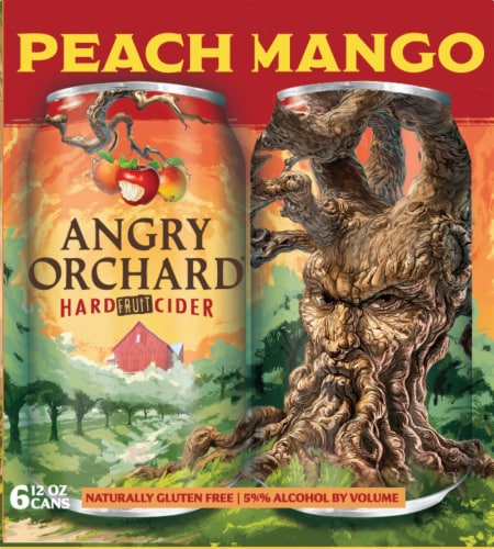 Angry Orchard Hard Fruit Cider - Peach Mango Perspective: right