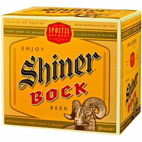 Shiner Bock Lager Beer Perspective: right