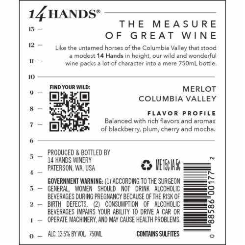 14 Hands Merlot Red Wine Perspective: right