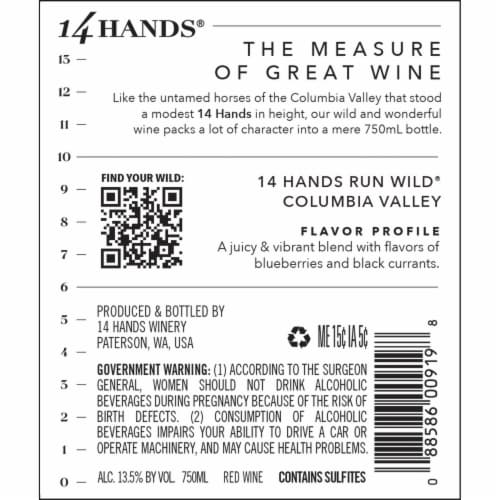 14 Hands Run Wild Juicy Red Blend Wine Perspective: right