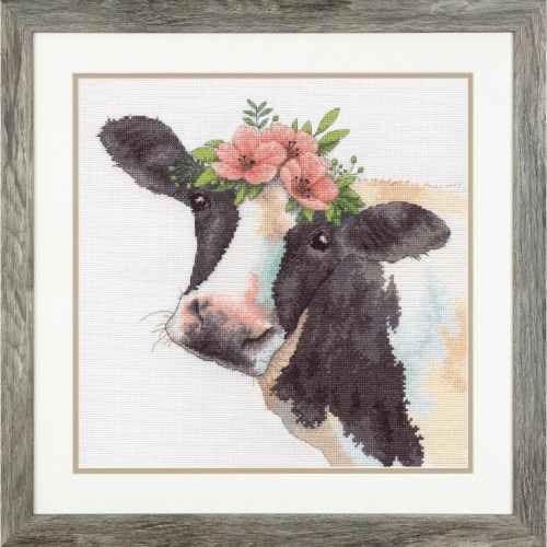 Dimensions® Sweet Cow Counted Cross Stitch Kit Perspective: right