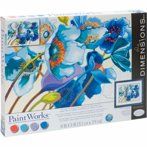 Dimensions® PaintWorks Blue Poppies Paint by Number Kit Perspective: right