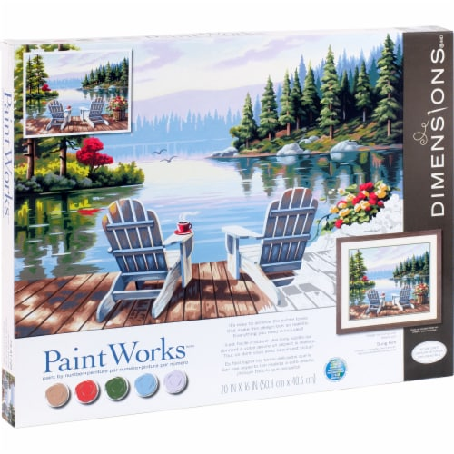 Dimensions® PaintWorks™ Lakeside Morning Paint by Number Kit Perspective: right