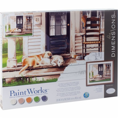 Dimensions® PaintWorks™ Lazy Dog Day Paint by Number Kit Perspective: right
