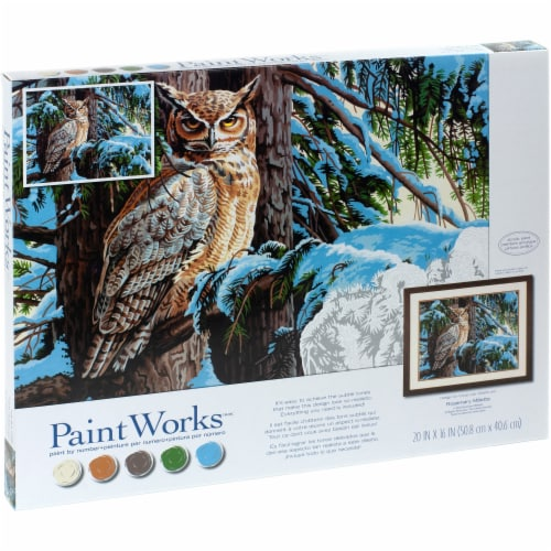 Dimensions® PaintWorks™ Great Horned Owl Paint by Number Kit Perspective: right