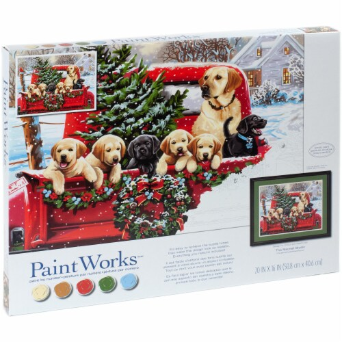 Dimensions® PaintWorks™ Holiday Puppy Truck Paint by Number Kit Perspective: right