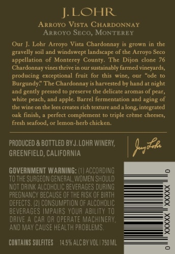 J. Lohr Arroyo Vista Chardonnay White Wine Perspective: right