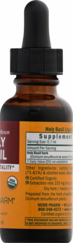Herb Pharm Holy Basil Herbal Supplement Perspective: right