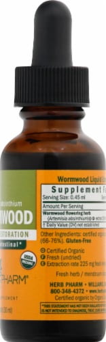 Herb Pharm Wormwood Herbal Supplement Perspective: right