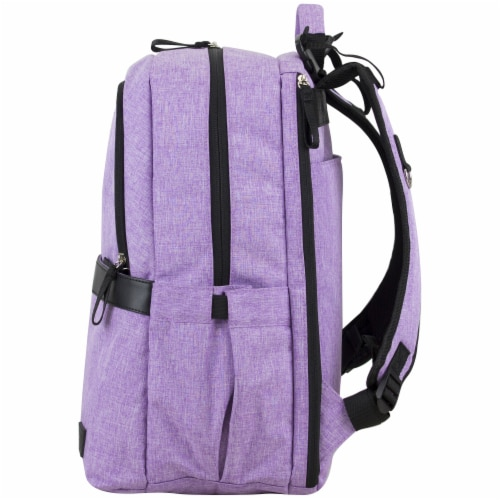 Bodhi Baby Rubin Weekender Tech Diaper Backpack - Purple Chambray Perspective: right