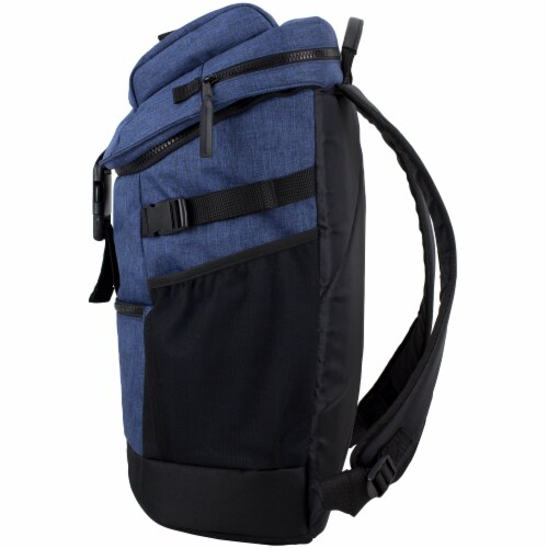 Fuel Barrier Top-Loading Backpack w/ Insulated Zip-Cooler Flap Pocket - Blue Perspective: right