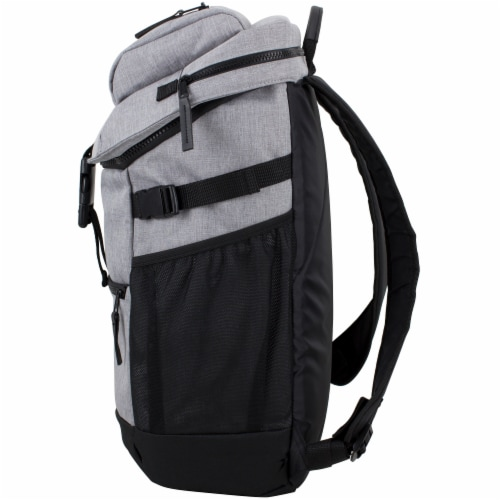 Fuel Barrier Top-Loading Backpack w/ Insulated Zip-Cooler Flap Pocket - Light Grey Chambray Perspective: right