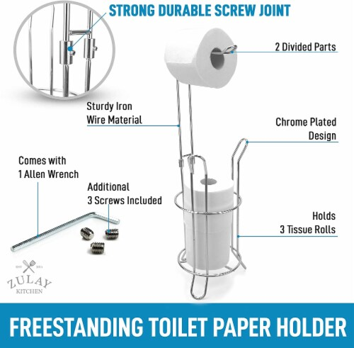 Toilet Paper Holder Stand & Storage Holds 3 Extra Rolls for Bathroom Perspective: right