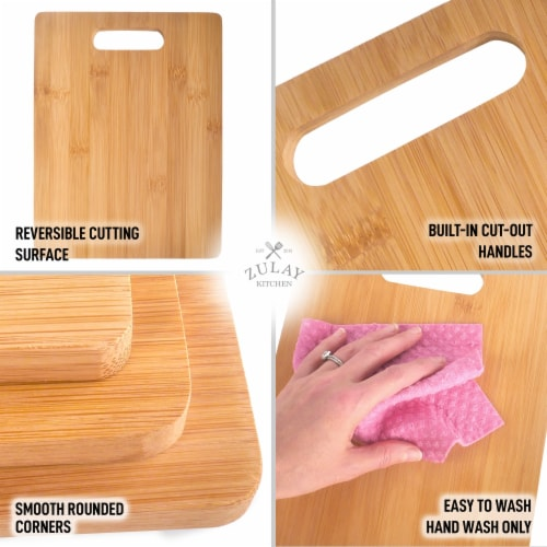 Bamboo Wooden Cutting Boards For Kitchen Premium 3 Assorted Sizes Wood Cooking Serving Perspective: right