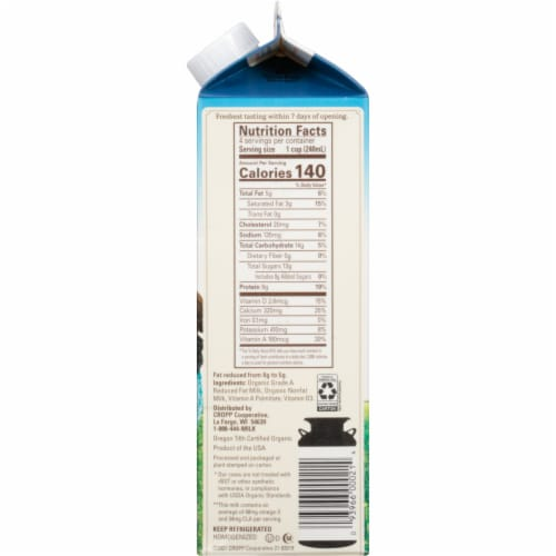 Organic Valley 2% Reduced Fat Milk Perspective: right