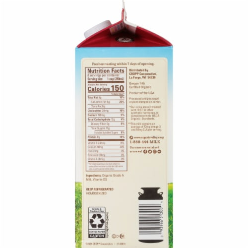 Organic Valley Whole Milk Perspective: right