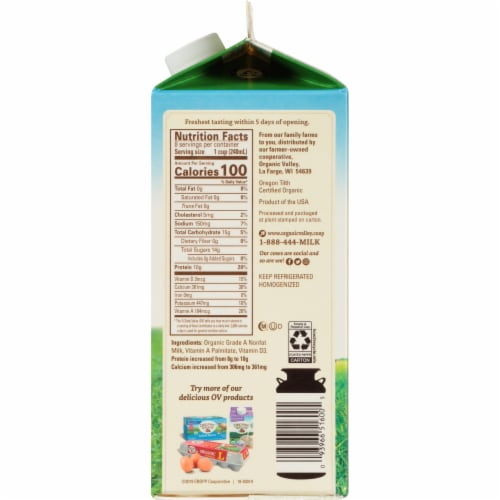 Organic Valley Fat Free Milk Perspective: right