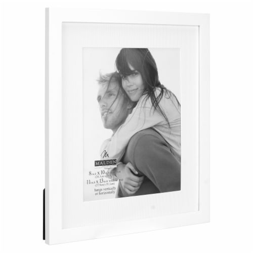 Malden Interior Designs 8x10/11x13 White Linear Matted Picture Frame Perspective: right