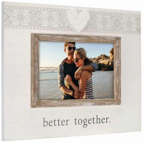 Malden Better Together Rustic Border Picture Frame - White/Brown Perspective: right