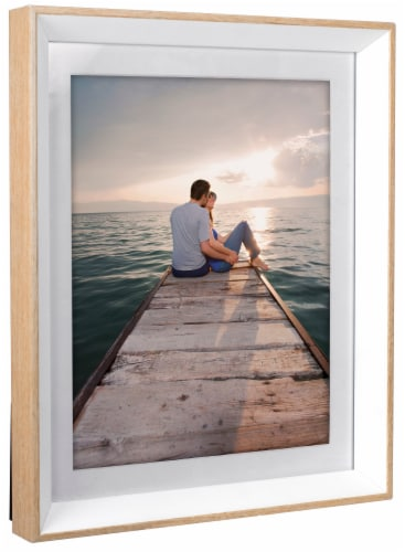 Malden Deep-Set Bevel Matted Picture Frame - White/Natural Perspective: right