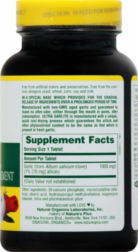 Natures Plus Ultra Maximum Strength GarLite Tablets 1000 mg Perspective: right