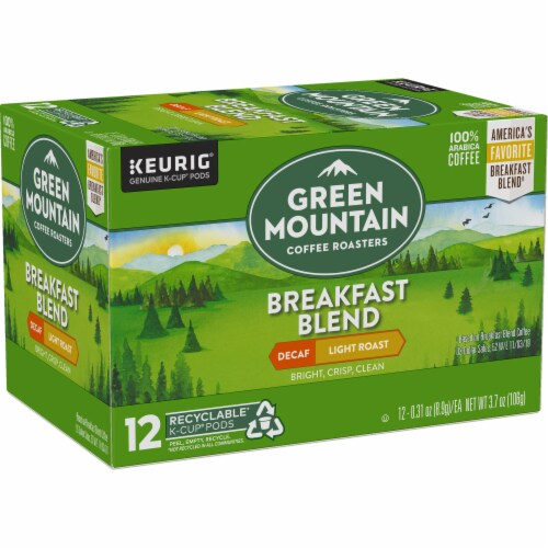 Green Mountain Coffee Decaf Breakfast Blend Light Roast Coffee K-Cup Pods Perspective: right