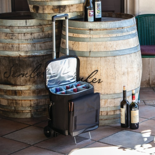 Cellar 6-Bottle Wine Carrier & Cooler Tote with Trolley, Black with Gray Accents Perspective: right