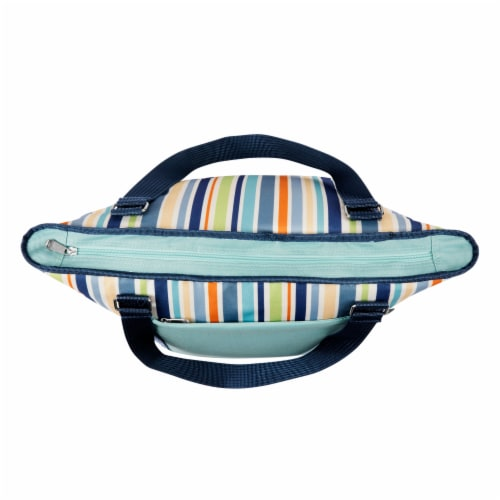 Topanga Cooler Tote Bag, Sky Blue with Multi Stripe Pattern Perspective: right