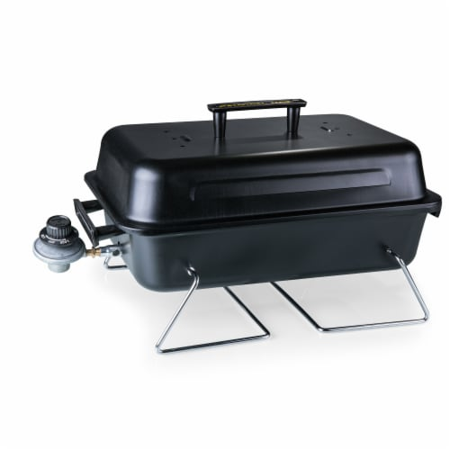 Vulcan Portable Propane Grill & Cooler Tote with Trolley, Black with Gray Accents Perspective: right